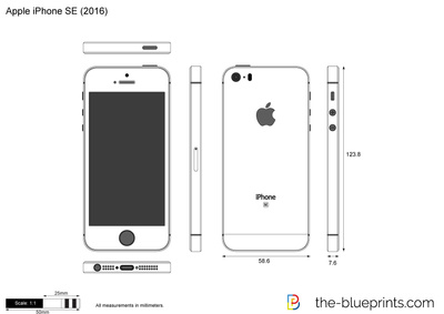 Apple IPhone SE Vector Drawing