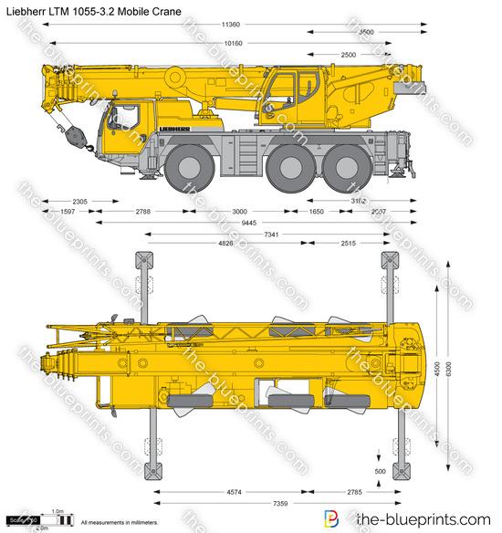 Liebherr LTM 1055-3 2 Mobile Crane vector drawing