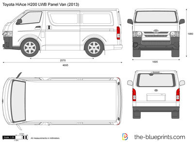 Toyota HiAce H200 LWB Panel Van vector drawing