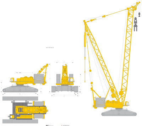 Liebherr LR 13000 Crawler Crane vector drawing