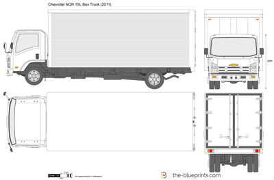 Chevrolet Work Truck >> Chevrolet NQR 75L Box Truck vector drawing