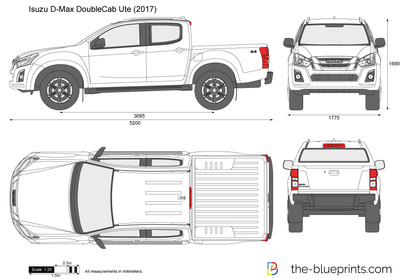 Mazda Cx3 Dimensions >> Isuzu D-Max Double Cab Ute vector drawing