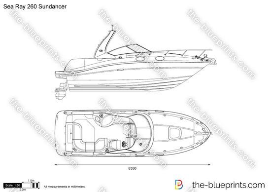 Sea Ray 260 Sundancer vector drawing