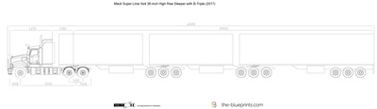Mack Super-Liner 6x4 36-inch High Rise Sleeper with B-Triple