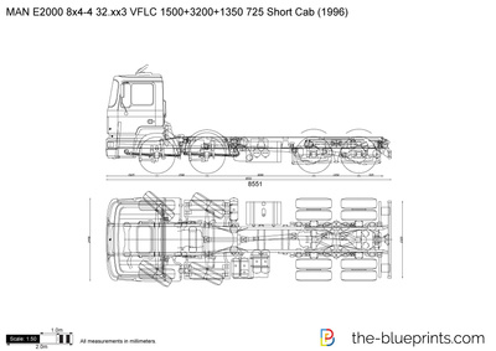 MAN E2000 8x4-4 32.xx3 VFLC 1500+3200+1350 725 Short Cab