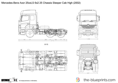 Mercedes-Benz Axor 25xxLS 6x2 25 Chassis Sleeper Cab High