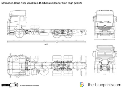Mercedes-Benz Axor 2628 6x4 45 Chassis Sleeper Cab High