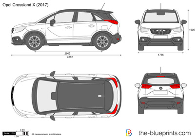 crossland x dimensions opel crossland x 2017 blueprint download free blueprint for 3d modeling. Black Bedroom Furniture Sets. Home Design Ideas