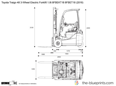 Toyota Traigo 48 3-Wheel Electric Forklift 1.8t 8FBEKT18 8FBET18