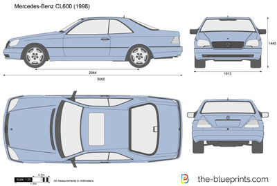 mercedes-benz cl600 c140 vector drawing