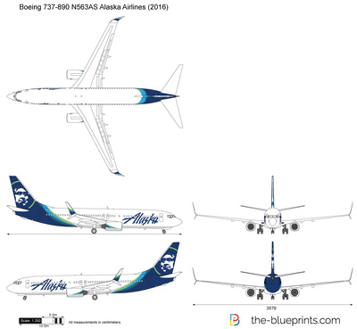 Boeing 737 890 N563as Alaska Airlines Vector Drawing