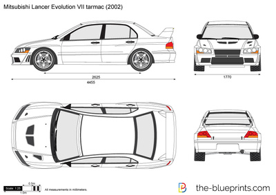 Mitsubishi Lancer Evolution Vii Tarmac Vector Drawing