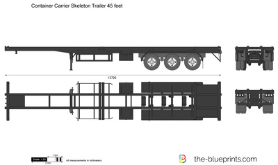Container Carrier Skeleton Trailer 45 feet
