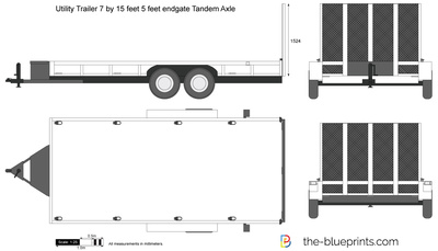 Utility Trailer 7 by 15 feet 5 feet endgate Tandem Axle