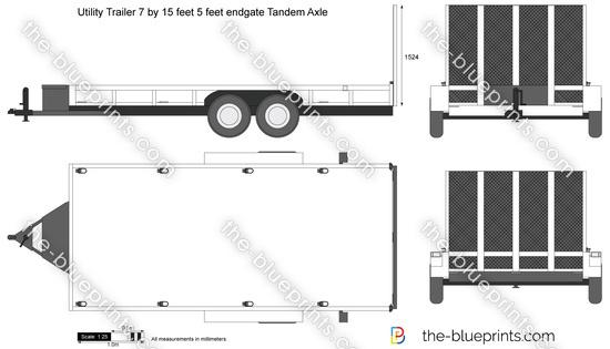 Utility Trailer 7 by 15 feet 5 feet endgate Tandem Axle
