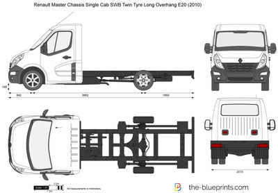 Renault Master Chassis Single Cab SWB Twin Tyre Long Overhang E20