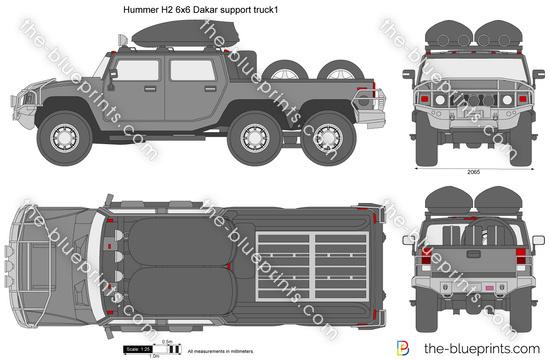 Hummer H2 6x6 Dakar support truck1