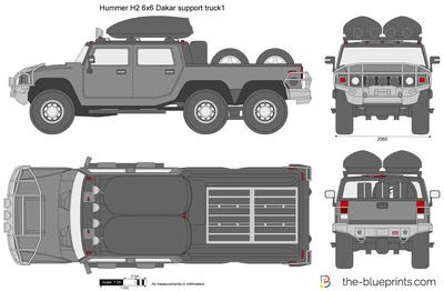 Hummer H2 6x6 Dakar support truck