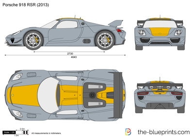 Porsche 918 RSR vector drawing