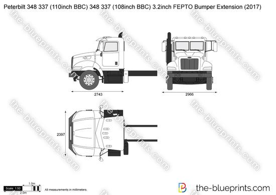 Peterbilt 348 337 (110inch BBC) 348 337 (108inch BBC) 3.2inch FEPTO Bumper Extension