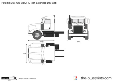 Peterbilt 367-123 SBFA 10 inch Extended Day Cab