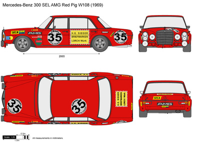 Mercedes-Benz 300 SEL AMG Red Pig W108
